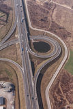 Aerial view of highway roundabout in Poland Stock Image
