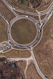 Aerial view of highway roundabout in Poland Royalty Free Stock Photo