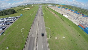 Aerial View Highway with Small Traffic and Parking on Side stock footage