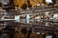 Aerial view of highway with traffic royalty free stock photo
