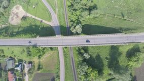 Aerial view of highway in Ukraine.  stock video footage