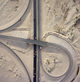 Aerial View : Highways junction in desert. Aerial View : Highways junction in the desert, interchange Royalty Free Stock Photography