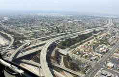 Aerial view of highways. Near los angeles royalty free stock photography