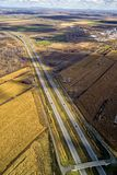 Aerial view of a highways, overpasses. Ramps in the Montreal suburban area , Quebec, Canada Royalty Free Stock Photography
