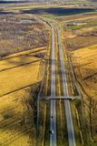 Aerial view of a highways, overpasses. Ramps in the Montreal suburban area , Quebec, Canada Royalty Free Stock Photo