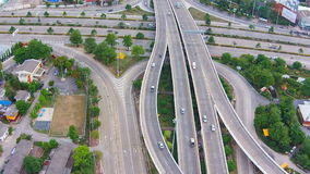 Aerial view of highways road stock video footage