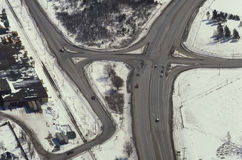 Aerial view of highways in rural area Stock Photo