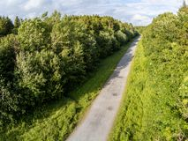 Aerial view of a hiking trail in Merlin Park. Galway, Ireland stock photo