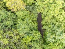 Aerial view of a hiking trail in Merlin Park. Galway, Ireland stock photography