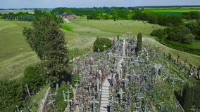 The Hill of Crosses. It is a site of pilgrimage. Siauliai. Lithuania. stock footage
