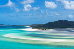 Aerial view of Hill Inlet estuary and Whitehaven beach Royalty Free Stock Photos