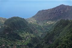 Aerial view at hills in Faial county on Portuguese island of Madeira. View from Balcoes viewpoint i Ribeiro Frio royalty free stock image