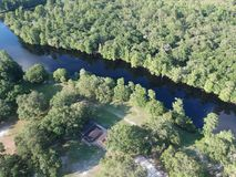 Aerial view of Hillsborough river in Tampa royalty free stock image