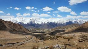 Aerial view of Himalayan mountain landscape and the valley in Ladakh stock footage