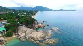Aerial View at Hin Ta Hin Yai Rocks on Samui island stock video