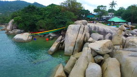 Aerial View at Hin Ta Hin Yai Rocks stock video footage