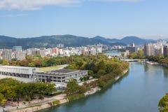 Hiroshima river and memorial park. Panoramic view of Hiroshima. The Peace Memorial Park in the forefront. Japan Stock Photo