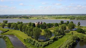 Aerial view of historic Castle Loevestein, Poederoijen - Holland - Netherlands.  stock video