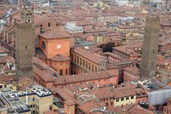 Aerial view of the historic center of Bologna. In Emilia Romagna -Italy- as seen from Asinelli tower royalty free stock photos