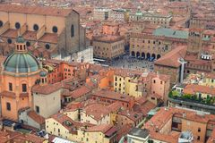 Aerial view of the historic center of Bologna. In Emilia Romagna -Italy- as seen from Asinelli tower stock photography