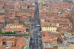 Aerial view of the historic center of Bologna. In Emilia Romagna -Italy- as seen from Asinelli tower stock photo