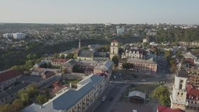 Aerial view of historic center city of Kamianets-Podilskyi. Aerial view of historic city of Kamianets-Podilskyi, Ukraine stock footage