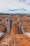 Aerial view of the city of Florence, Italy, from the dome of Flo royalty free stock photography
