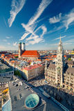 Aerial view on the historic center of Munchen. Aerial view of Munchen: Marienplatz, New Town Hall and Frauenkirche Royalty Free Stock Photo