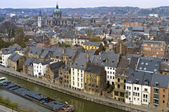 Aerial view of historic center and river Meuse Namur Royalty Free Stock Images