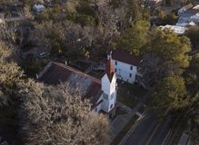 Aerial view of historic church in Beaufort, South Carolina Royalty Free Stock Images