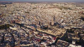 Aerial view of historic city and cathedral of Seville, Spain. Aerial view of historic city and cathedral of Seville, Andalusia, Spain stock video footage
