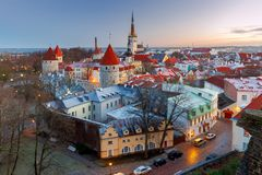 Tallinn. Aerial view of the city at dawn. Stock Photography