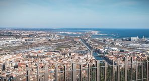 Aerial view of historic city center and harbor of Sete, France. Sete, France - January 4, 2019: Aerial view of historic city center and harbor a winter day royalty free stock photography