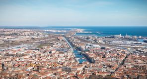Aerial view of historic city center and harbor of Sete, France. Sete, France - January 4, 2019: Aerial view of historic city center and harbor a winter day stock photos