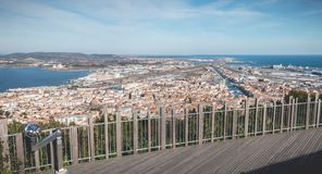 Aerial view of historic city center and harbor of Sete, France. Sete, France - January 4, 2019: Aerial view of historic city center and harbor a winter day stock photo