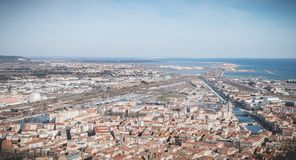 Aerial view of historic city center and harbor of Sete, France. Sete, France - January 4, 2019: Aerial view of historic city center and harbor a winter day stock image