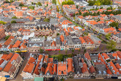 Aerial view of the historic city Delft Stock Photography