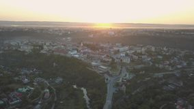Aerial view of historic center city of Kamianets-Podilskyi. Aerial view of historic city of Kamianets-Podilskyi, Ukraine stock video