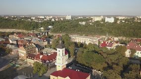Aerial view of historic center city of Kamianets-Podilskyi. Aerial view of historic city of Kamianets-Podilskyi, Ukraine stock video footage