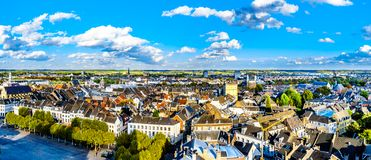 Aerial view of the historic city of Maastricht in the Netherlands as seen from the tower of the St.John Church. Aerial view of the historic city of Maastricht in royalty free stock image