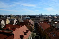 Aerial view of historic city skyline of Zagreb Croatia. Zagreb, Croatia - March 29, 2015: A downward looking photo overlooking the Croatian capital city of Royalty Free Stock Image