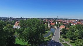 Aerial view of the historic city of Steinfurt. Germany stock video