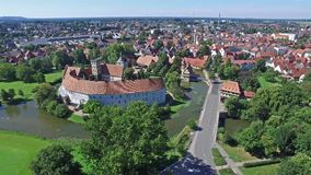 Aerial view of the historic city of Steinfurt. Germany stock video footage