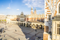 Aerial view on historic Cloth's Hall in Krakow, Poland Stock Images