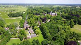 Aerial view of the historic De Haar castle near Utrecht, Netherlands.  stock video footage
