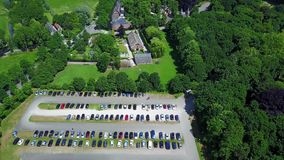 Aerial view of the historic De Haar castle near Utrecht, Netherlands.  stock footage