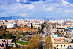 Aerial view of historic district at Barcelona Royalty Free Stock Images