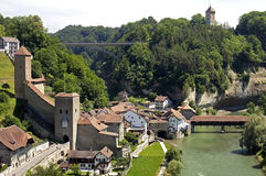 Aerial view of historic downtown, city Fribourg Royalty Free Stock Photo