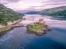 Aerial view of the historic Eilean Donan Castle by Dornie, Scotland royalty free stock image