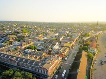 Aerial view historic French Quarter in New Orleans, Louisiana, U. Aerial view French Quarter with extant historical buildings from 19th century. The historic stock photos